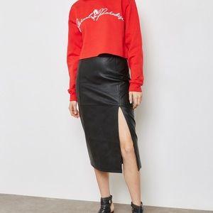 TOPSHOP Faux Leather Pencil Midi Skirt